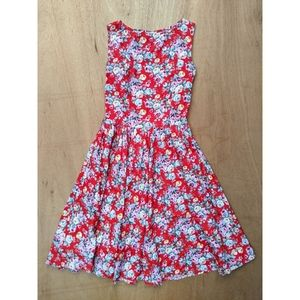 Lindy Bop FLAWED red floral fit flare dress small